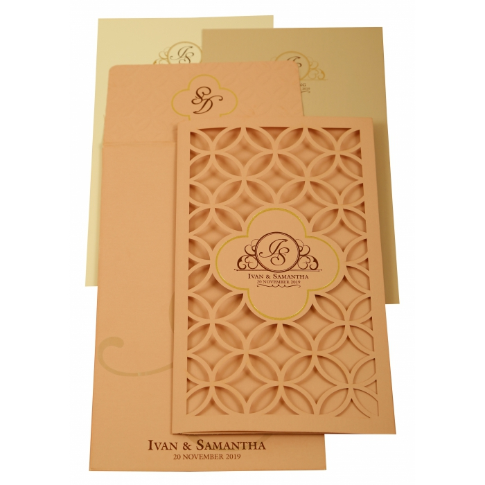 BABY PINK MATTE LASER CUT WEDDING INVITATION : AI-1906 - A2zWeddingCards