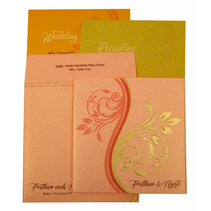 BABY PINK SHIMMERY FLORAL THEMED - EMBOSSED WEDDING INVITATION : AI-1900 - A2zWeddingCards