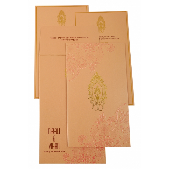 BABY PINK SHIMMERY FLORAL THEMED - FOIL STAMPED WEDDING INVITATION : AIN-1921 - A2zWeddingCards
