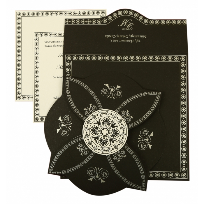 BLACK BUTTERFLY THEMED - SCREEN PRINTED WEDDING INVITATION : AI-820E - A2zWeddingCards