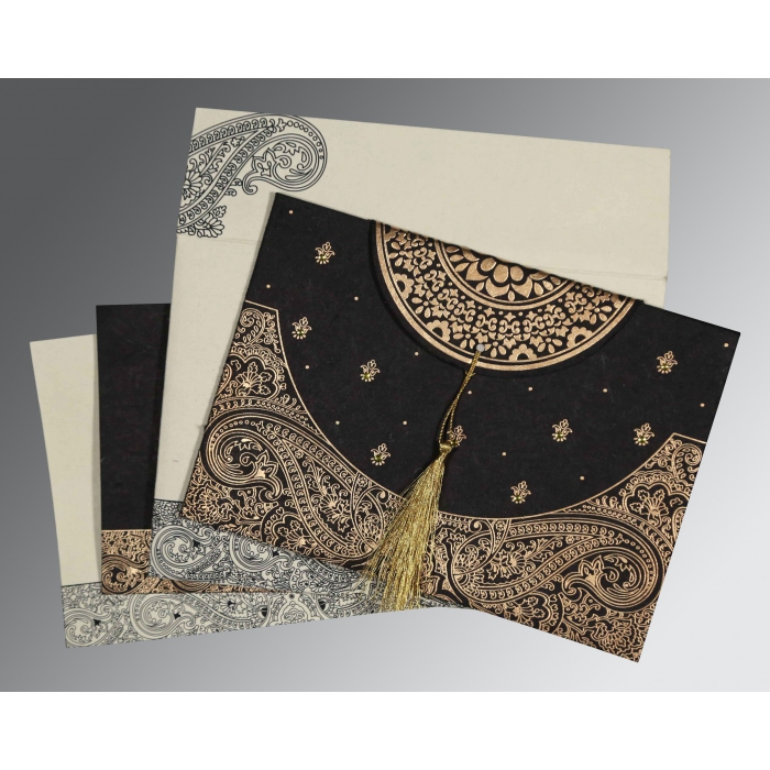 BLACK HANDMADE COTTON EMBOSSED WEDDING CARD : AG-8234A - A2zWeddingCards