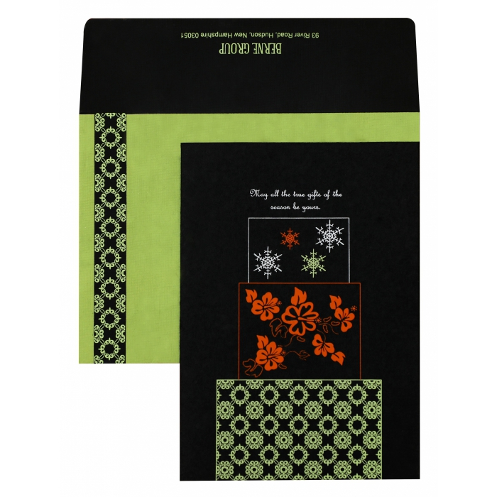 Black Handmade Cotton Floral Themed - Screen Printed Wedding Invitation : AH-851