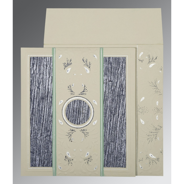 FOSSIL GREY MATTE EMBOSSED WEDDING CARD : AD-1261 - A2zWeddingCards