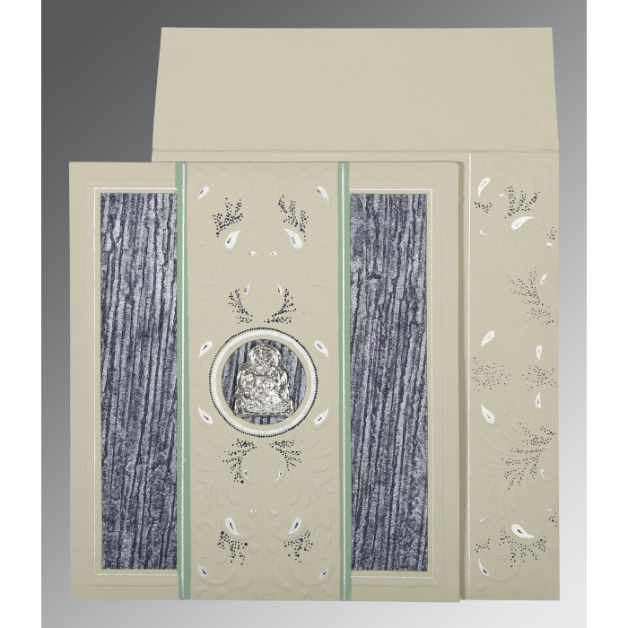 FOSSIL GREY MATTE EMBOSSED WEDDING CARD : AG-1261 - A2zWeddingCards