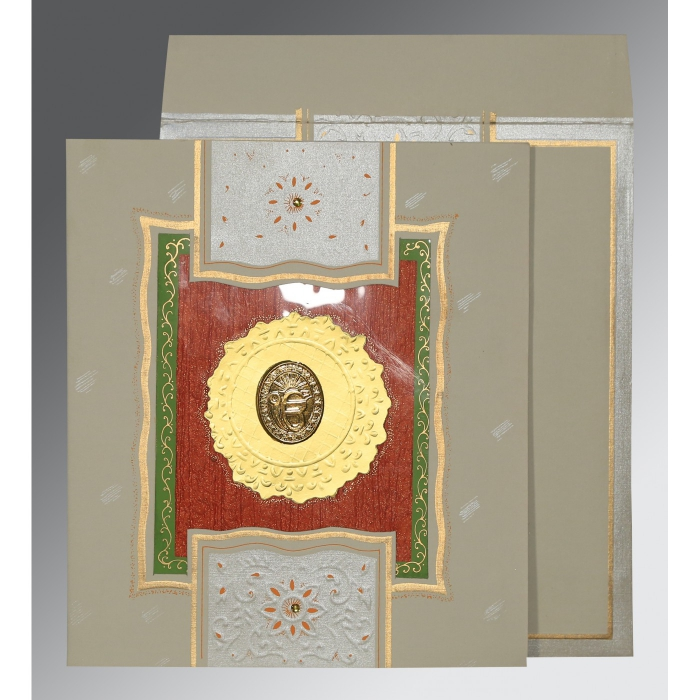 KHAKI MATTE EMBOSSED WEDDING CARD : AS-1144 - A2zWeddingCards