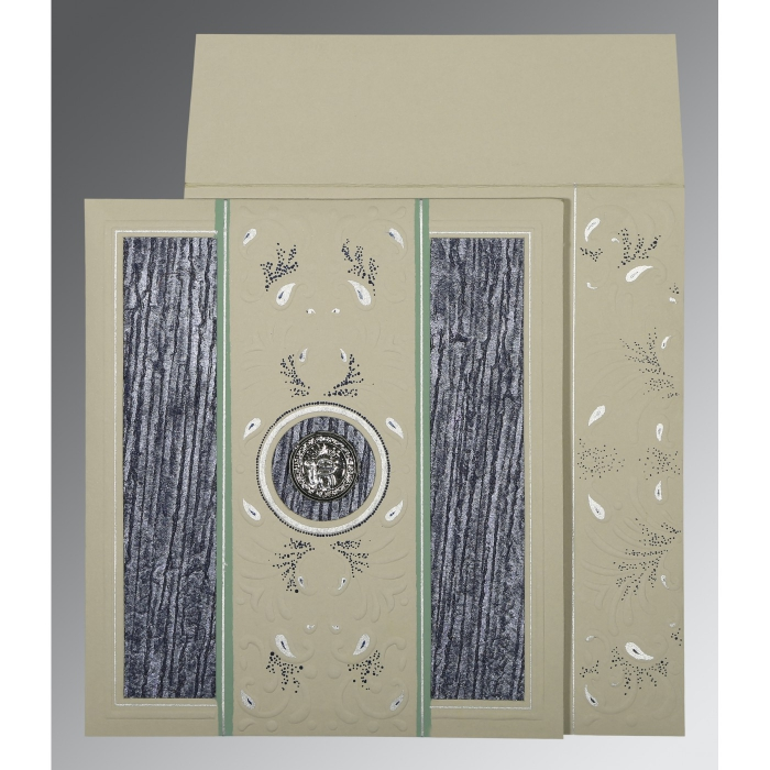 FOSSIL GREY MATTE EMBOSSED WEDDING CARD : AS-1261 - A2zWeddingCards