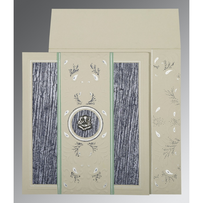 FOSSIL GREY MATTE EMBOSSED WEDDING CARD : AW-1261 - A2zWeddingCards