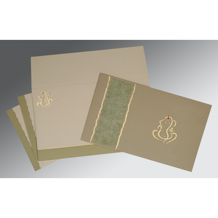 KHAKI MATTE EMBOSSED WEDDING CARD : AW-2117 - A2zWeddingCards