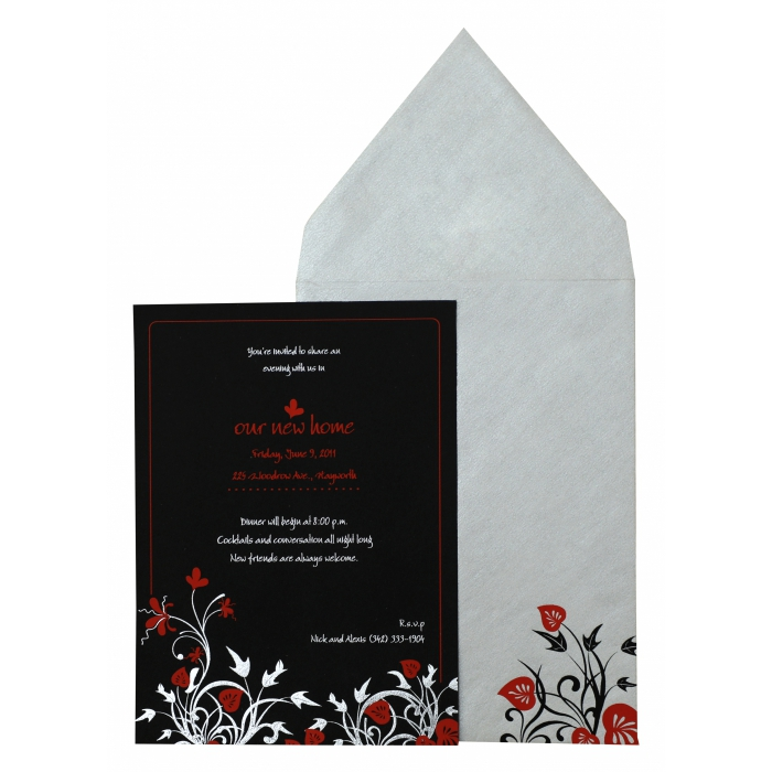 Black Matte Floral Themed - Foil Stamped Wedding Invitation : APY-880