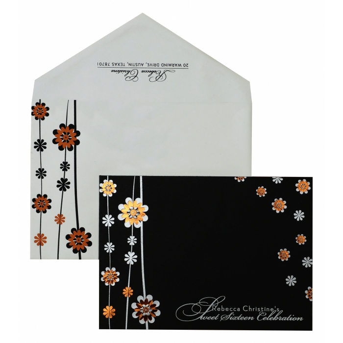 Black Matte Floral Themed - Foil Stamped Wedding Invitation : APY-887