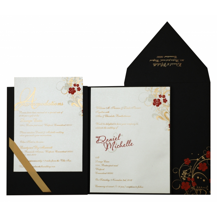 BLACK MATTE FLORAL THEMED - FOIL STAMPED WEDDING INVITATION : ASO-836 - A2zWeddingCards