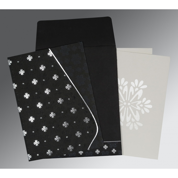 BLACK MATTE FLORAL THEMED - FOIL STAMPED WEDDING INVITATION : AS-8237H - A2zWeddingCards