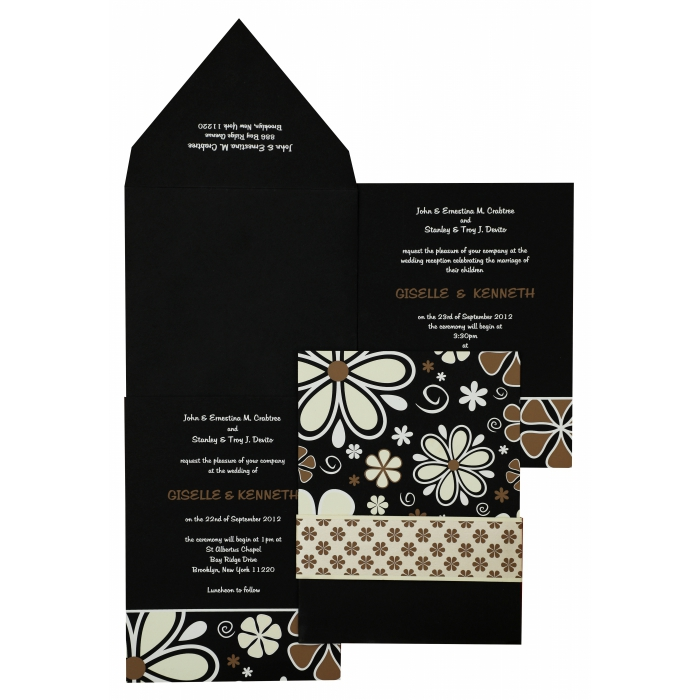 BLACK MATTE FLORAL THEMED - SCREEN PRINTED WEDDING INVITATION : AI-842 - A2zWeddingCards