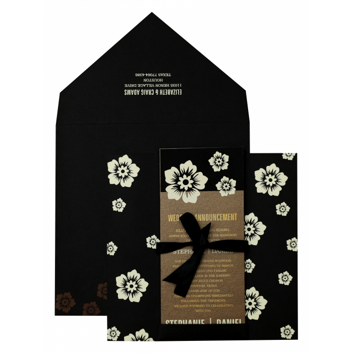 Black Matte Floral Themed - Screen Printed Wedding Invitation : ASC-825