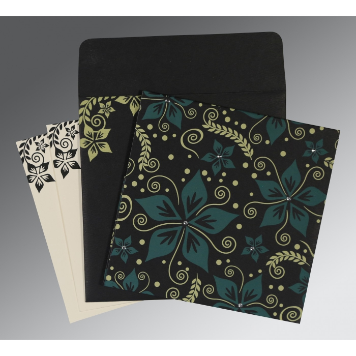 BLACK MATTE FLORAL THEMED - SCREEN PRINTED WEDDING INVITATION : AIN-8240A - A2zWeddingCards