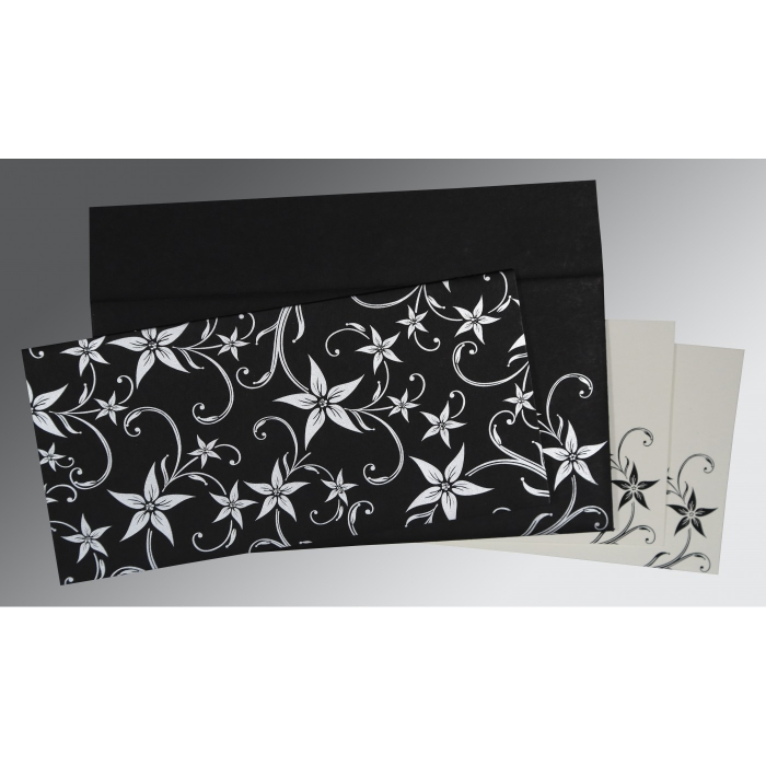 Black Matte Floral Themed - Screen Printed Wedding Invitation : ASO-8225A - A2zWeddingCards