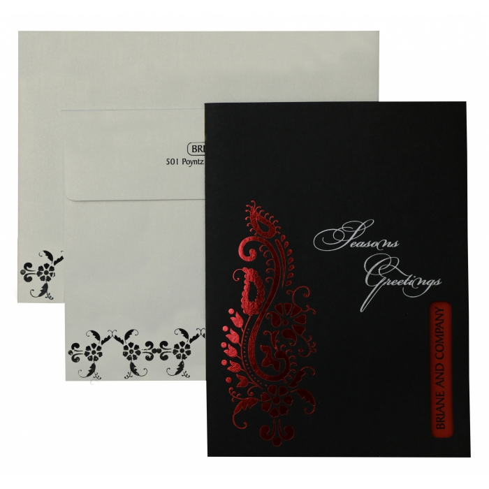 Black Matte Paisley Themed - Foil Stamped Wedding Invitation : AH-863