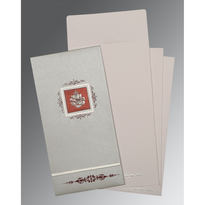 LIGHT GREY SHIMMERY EMBOSSED WEDDING CARD : AW-1427 - A2zWeddingCards