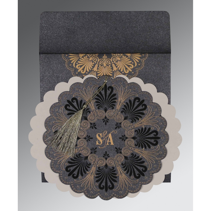 Black Shimmery Floral Themed - Embossed Wedding Card : ARU-8238D - A2zWeddingCards