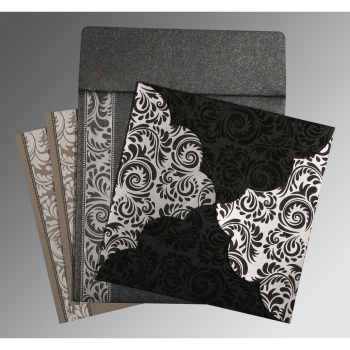 BLACK SHIMMERY FLORAL THEMED - SCREEN PRINTED WEDDING CARD : AG-8235I - A2zWeddingCards