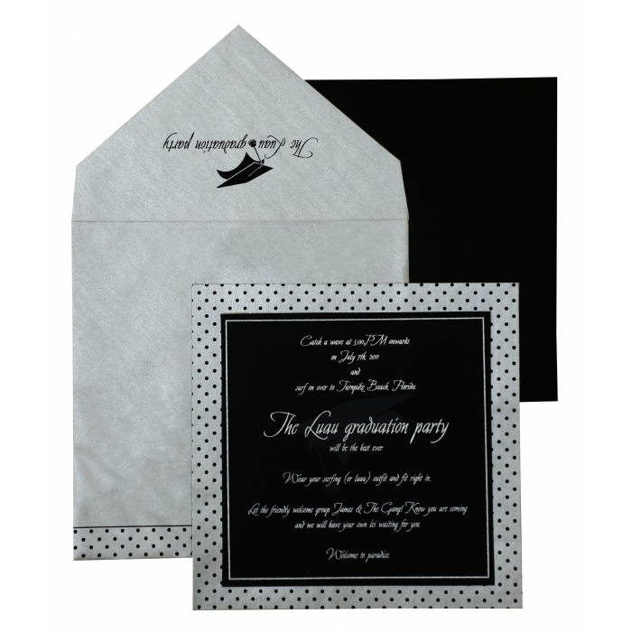 Black Silver Matte Unique Themed - Screen Printed Wedding Invitation : APY-892