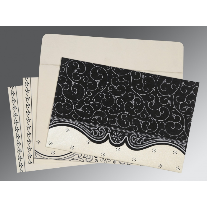 Black Wooly Embossed Wedding Invitations : ASO-8221N - A2zWeddingCards