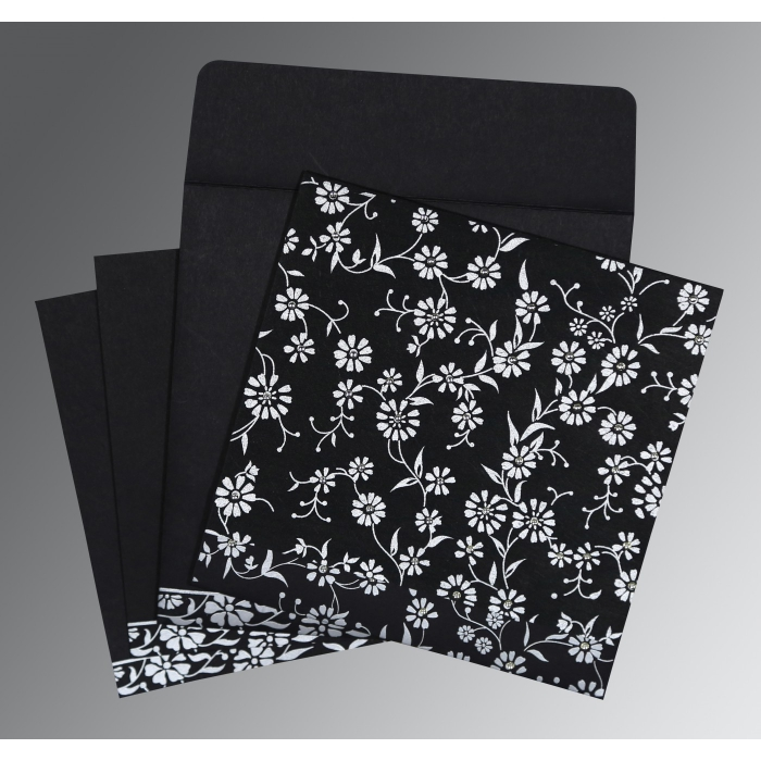BLACK MATTE FLORAL THEMED - SCREEN PRINTED WEDDING CARD : AI-8222J - A2zWeddingCards
