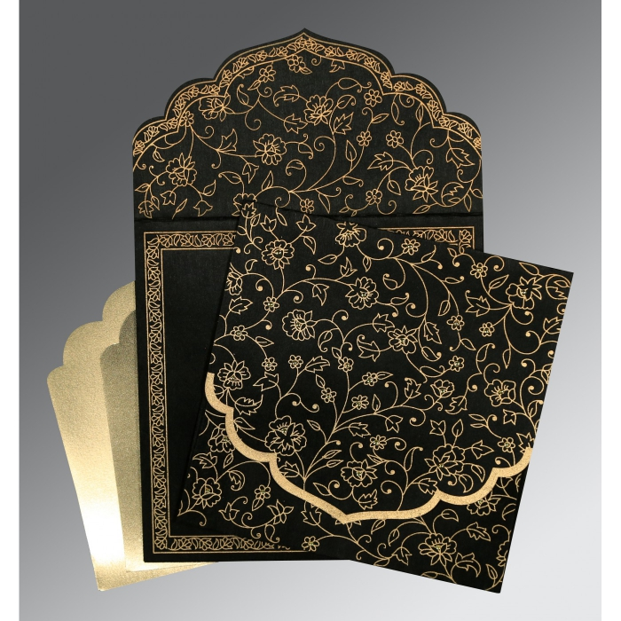 BLACK WOOLY FLORAL THEMED - SCREEN PRINTED WEDDING INVITATION : ARU-8211N - A2zWeddingCards