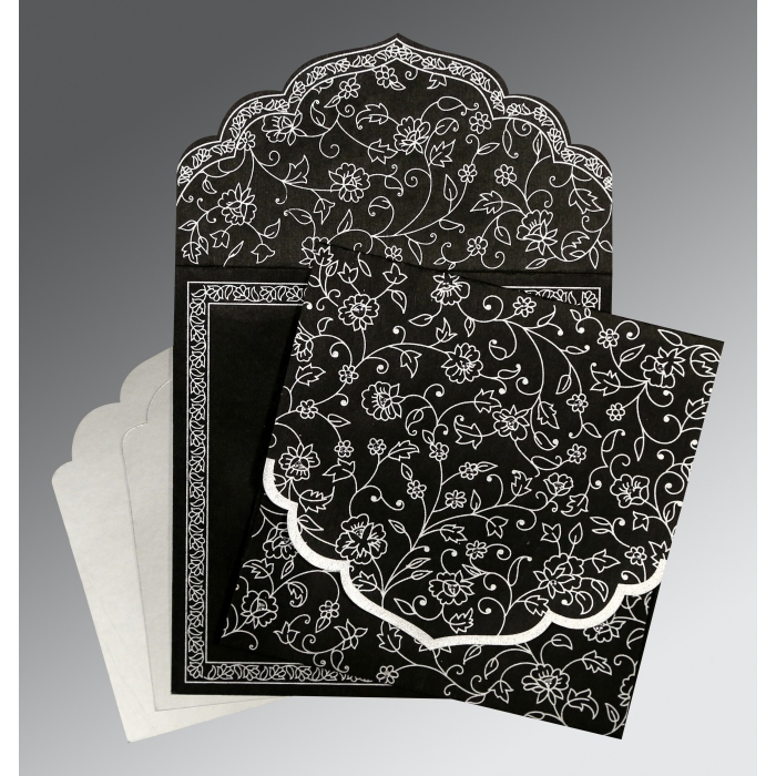 BLACK WOOLY FLORAL THEMED - SCREEN PRINTED WEDDING INVITATION : AW-8211B - A2zWeddingCards