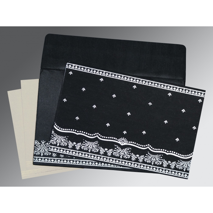 Black Wooly Foil Stamped Wedding Invitation : AI-8241O - A2zWeddingCards