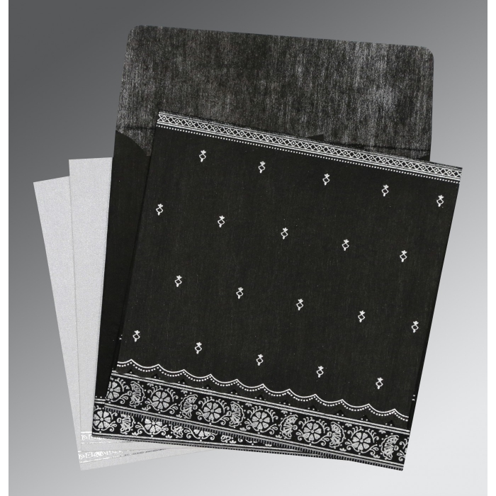 BLACK WOOLY FOIL STAMPED WEDDING CARD : AI-8242B - A2zWeddingCards