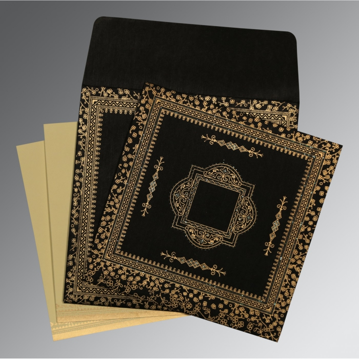 Black Wooly Glitter Wedding Card : AD-8205K - A2zWeddingCards