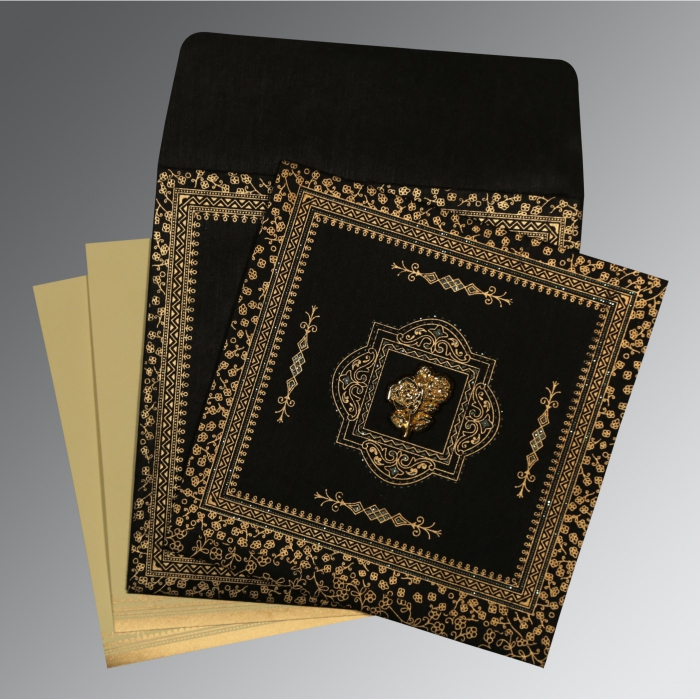 Black Wooly Glitter Wedding Card : AI-8205K - A2zWeddingCards