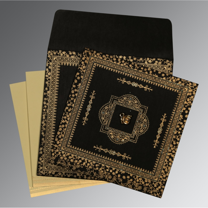 BLACK WOOLY GLITTER WEDDING CARD : ARU-8205K - A2zWeddingCards