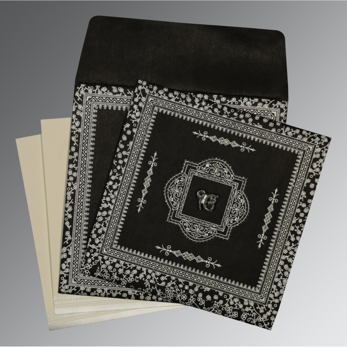 Black Wooly Glitter Wedding Card : AS-8205L - A2zWeddingCards