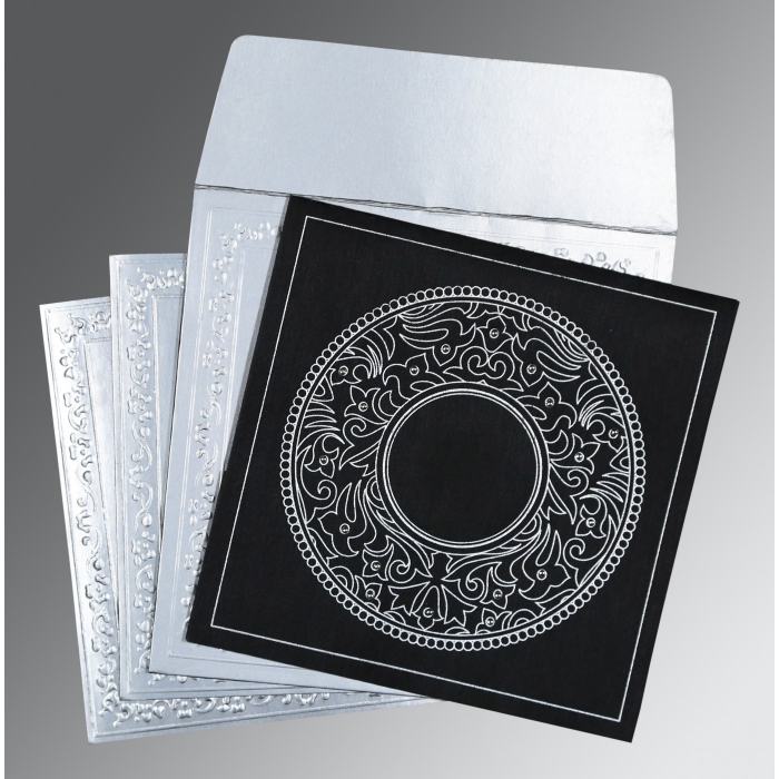 Black Wooly Screen Printed Wedding Card : AD-8214N - A2zWeddingCards