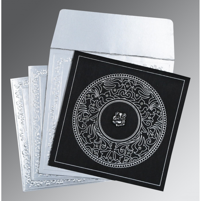 BLACK WOOLY SCREEN PRINTED WEDDING CARD : AIN-8214N - A2zWeddingCards