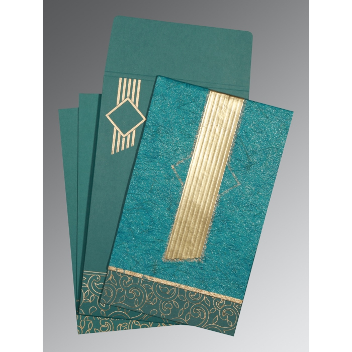 Blue Box Themed - Embossed Wedding Invitation : AW-1438 - A2zWeddingCards