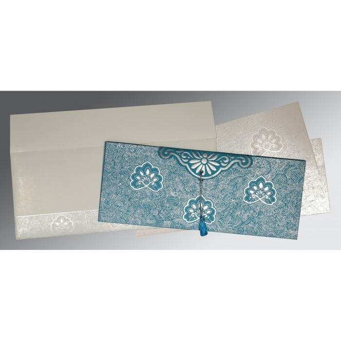 TEAL BLUE HANDMADE COTTON EMBOSSED WEDDING INVITATION : ARU-1410 - A2zWeddingCards