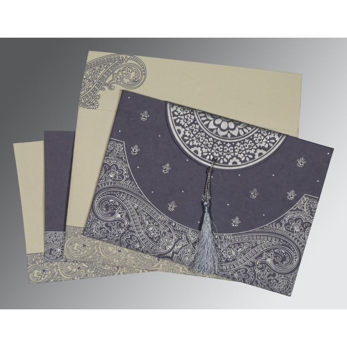 BLUISH GREY HANDMADE COTTON EMBOSSED WEDDING CARD : ARU-8234J - A2zWeddingCards