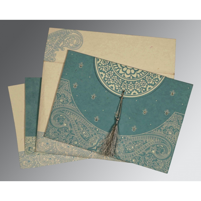BURMUDA GREY HANDMADE COTTON EMBOSSED WEDDING CARD : AS-8234E - A2zWeddingCards