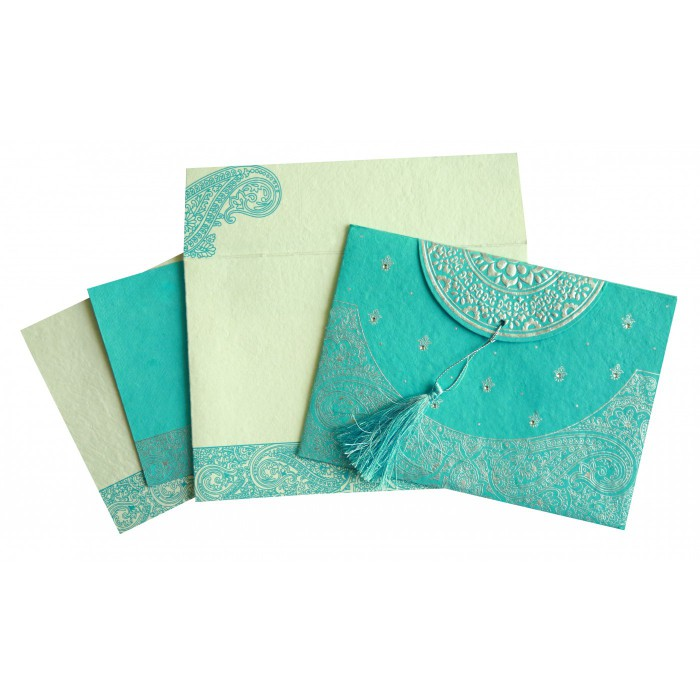 TURQUOISE HANDMADE COTTON EMBOSSED WEDDING CARD : AS-8234K - A2zWeddingCards
