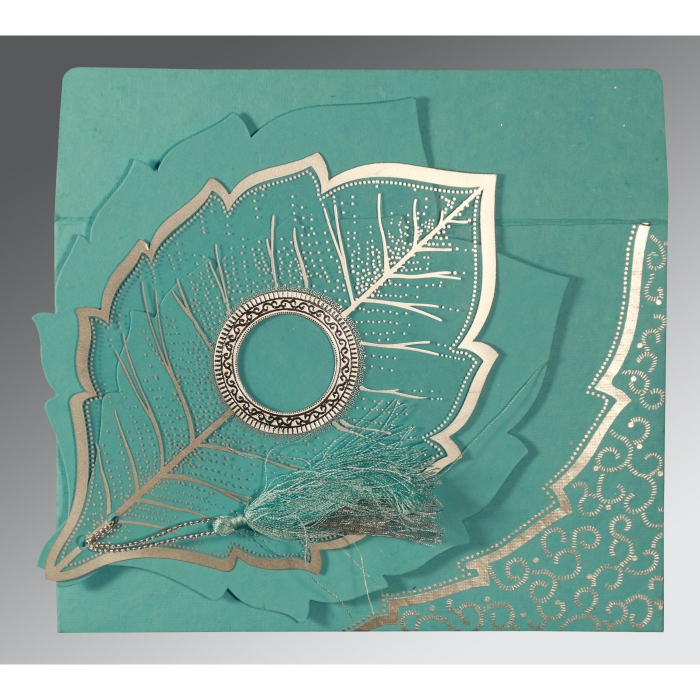 TURQUOISE HANDMADE COTTON FLORAL THEMED - FOIL STAMPED WEDDING CARD : ASO-8219P - A2zWeddingCards