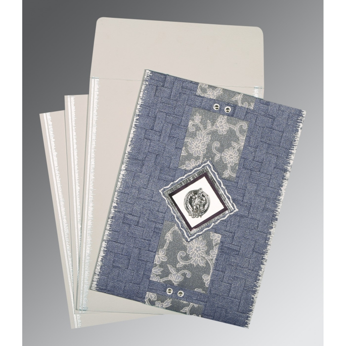 GRAYISH BLUE HANDMADE COTTON SCREEN PRINTED WEDDING CARD : ARU-1277 - A2zWeddingCards