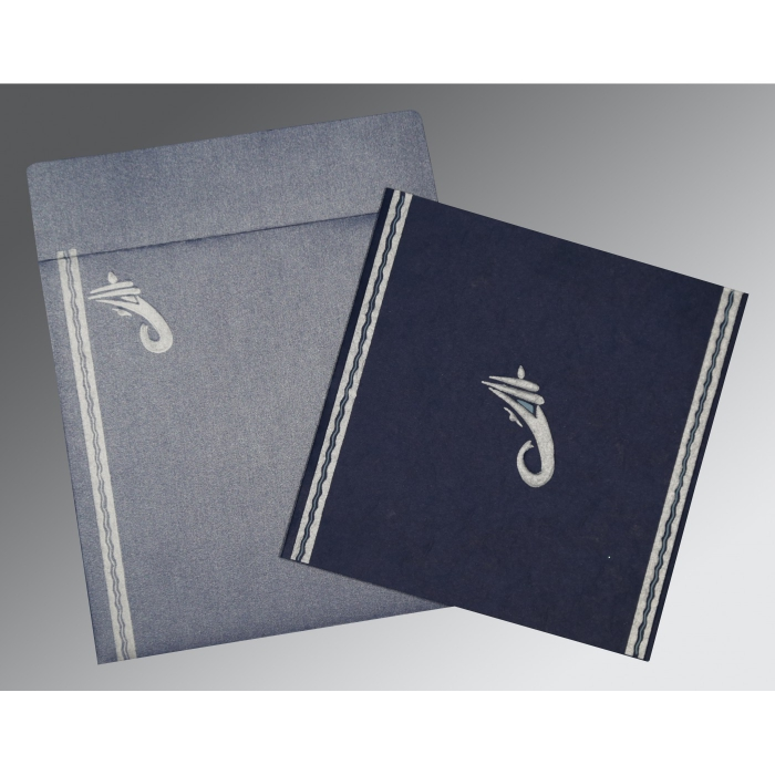 Blue Matte Embossed Wedding Card : AIN-2179 - A2zWeddingCards