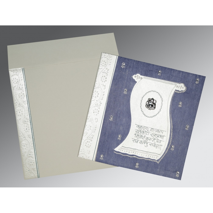 Blue Matte Embossed Wedding Card : AW-2109 - A2zWeddingCards