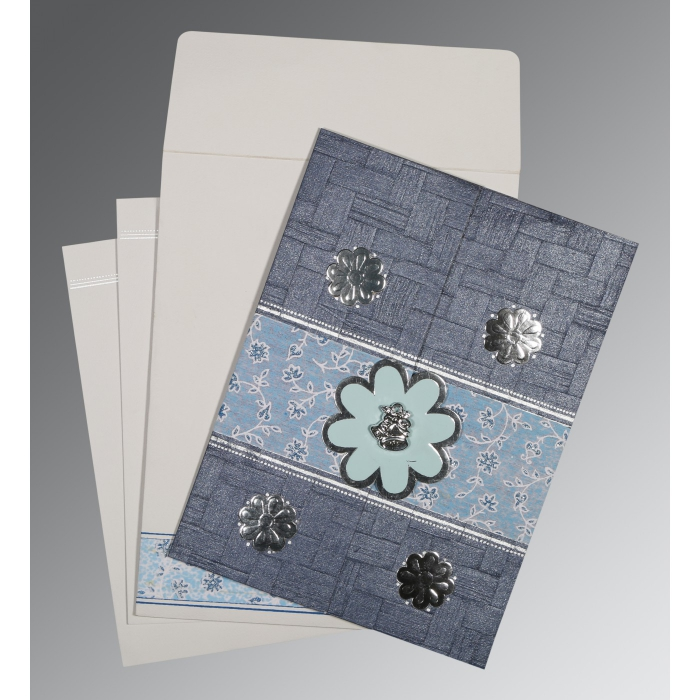 GRAYISH BLUE MATTE FLORAL THEMED - EMBOSSED WEDDING CARD : AC-1285 - A2zWeddingCards