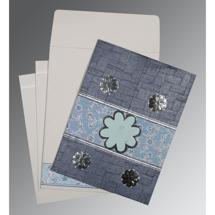 Blue Matte Floral Themed - Embossed Wedding Card : AD-1285 - A2zWeddingCards