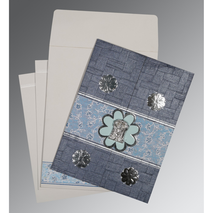 GRAYISH BLUE MATTE FLORAL THEMED - EMBOSSED WEDDING CARD : ASO-1285 - A2zWeddingCards