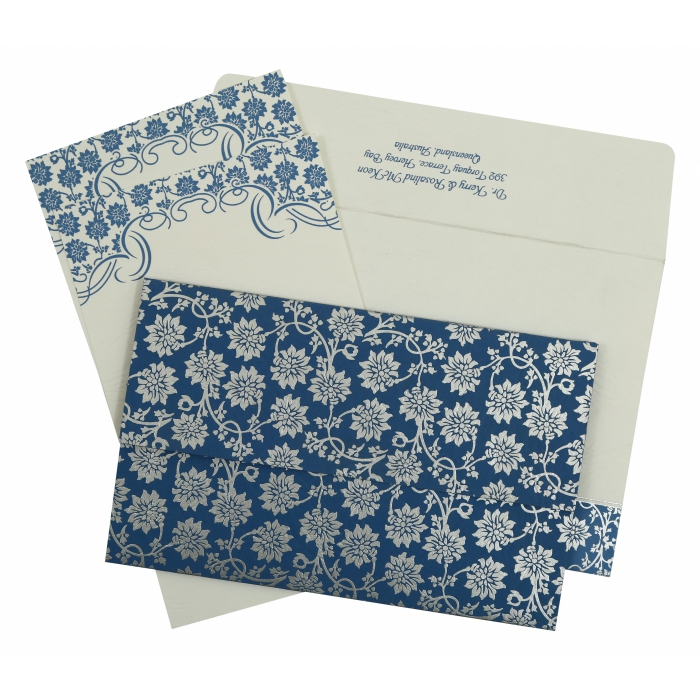 BLUE MATTE FLORAL THEMED - SCREEN PRINTED WEDDING INVITATION : AW-810A - A2zWeddingCards